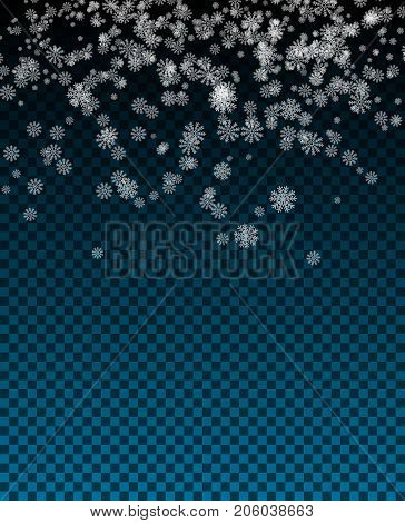 Snowflake Vector. Falling Christmas Snow Fall. Snowflakes Decoration Effect. Transparent Snow Flake