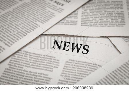 news topic or headline on newspaper background