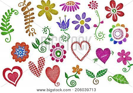 A set of glitter hearts and flowers decorative design elements.