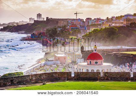 San Juan, Puerto Rico historic cemetery and coastal town.