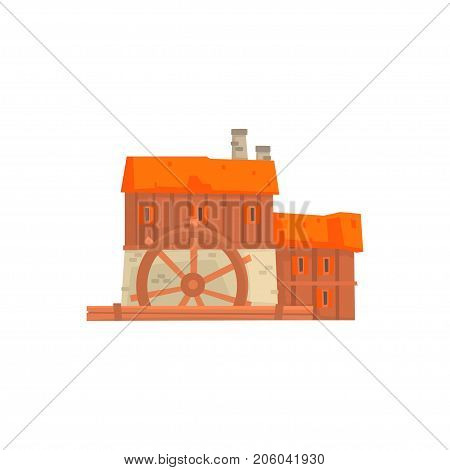 Ancient windmill, medieval wooden building cartoon vector Illustration isolated on a white background