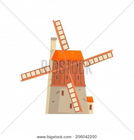 Ancient windmill medieval building cartoon vector Illustration isolated on a white background