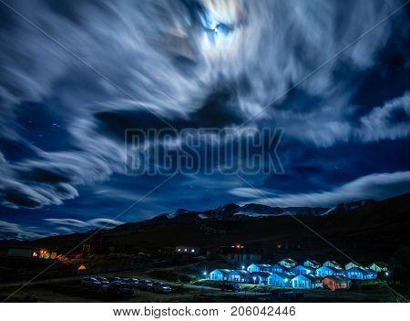 Night view of a camp near lake Tso Moriri in the Himalayas, Kashmir, India