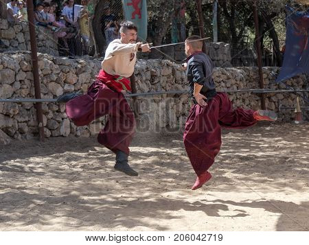 Jerusalem Israel September 23 2017 : Two Ukrainian Cossacks fighting at the festival