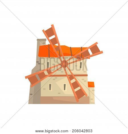 Ancient stone windmill building cartoon vector Illustration isolated on a white background