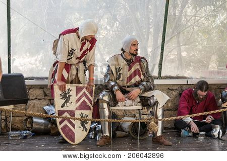 Jerusalem Israel September 23 2017 : Knights rest between fights at the festival