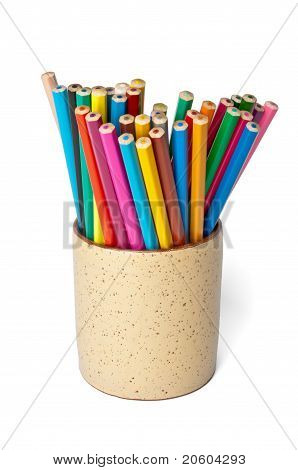 Set Of Colored Pencils In A Cup