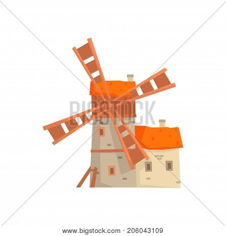 Ancient stone windmill building with millers house cartoon vector Illustration isolated on a white background