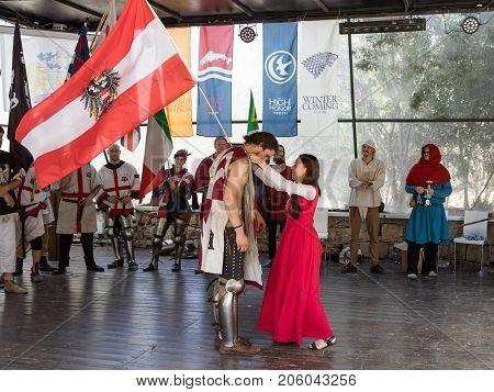 Jerusalem Israel September 23 2017 : Rewarding the Knight - Winner at the festival