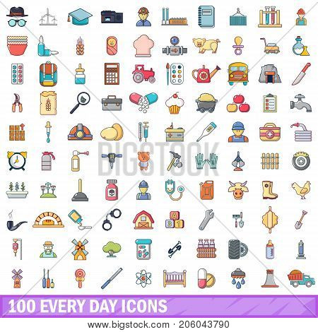 100 every day icons set in cartoon style for any design vector illustration