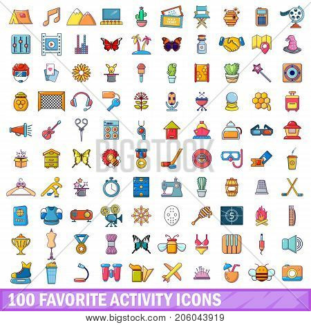 100 favorite activity icons set in cartoon style for any design vector illustration