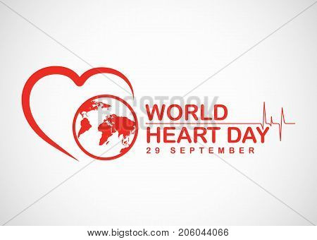 World heart day banner with red heart and world sign vector design