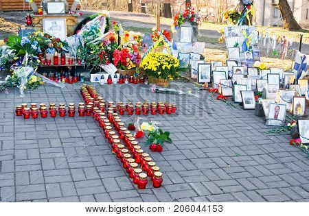 KIEV (KYIV) UKRAINE - November 21 2014:Celebrating the first anniversary of the Maidan in Kiev. Memorial cross near the place of killing