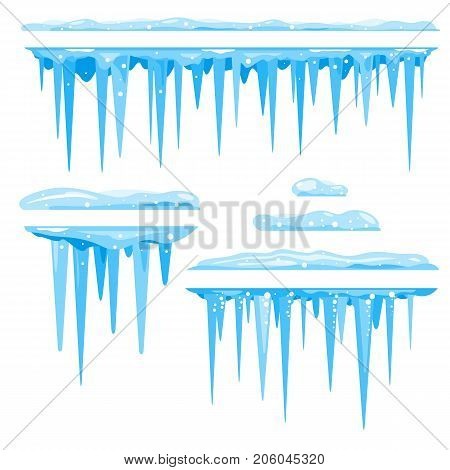 Blue frozen icicle cluster hanging down from snow, isolated