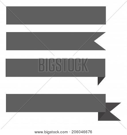 gray ribbon banner on white background. ribbon icon. gray ribbon sign.