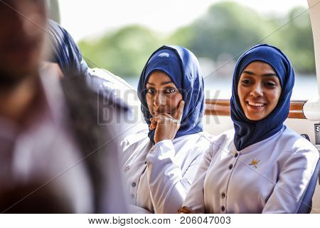 Szczecin Poland 6 august 2017: Shabab Oman II crew during a tour of the ship during the finale of The Tall Ships Races 2017 in Szczecin.