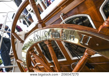 Szczecin Poland 6 august 2017: Shabab Oman steering wheel on a sailing shipsteering wheel on a sailing ship during the finale of The Tall Ships Races 2017 in Szczecin.