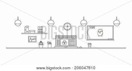 Workplace flat concept. Office line illustration on white background. Business center vector. Office workplace interior color image. Office workplace icon.