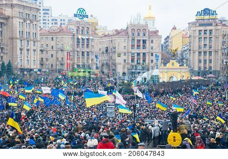 KIEV (KYIV) UKRAINE - DECEMBER 1 2013: Hundreds of thousands protest in Kiev against suspension of EU Association