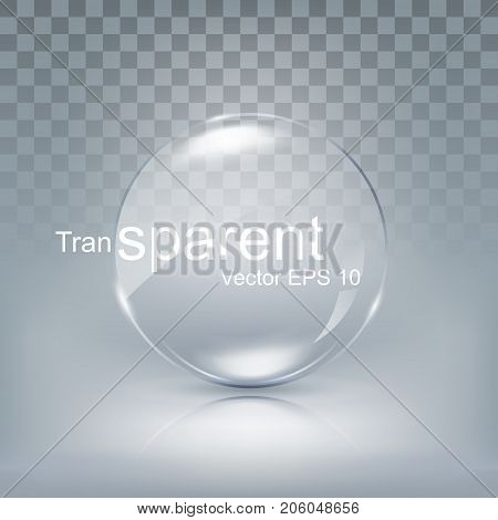 Modern transparent circle lens, sphere glass for button with shadow on white background, vector illustration