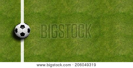 Soccer ball on the sideline, field grass background. 3d illustration