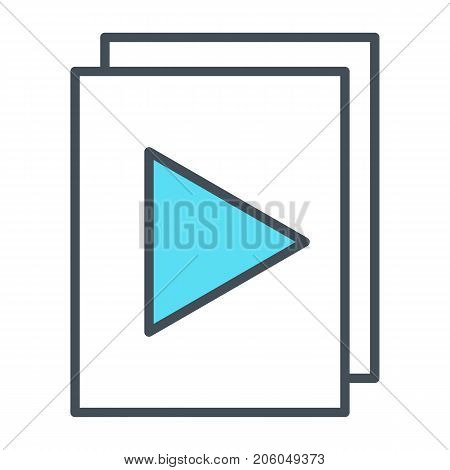 Audio or video files with plat button thin line icon. 96x96 for Web Graphics and Apps.  Simple Minimal Pictogram. Vector