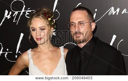 NEW YORK-SEP 13: Actress Jennifer Lawrence (L) and director Darren Aronofsky attend the