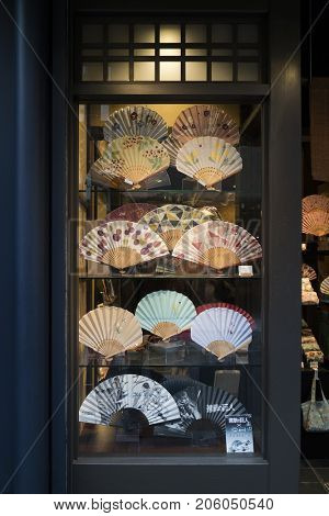 Kyoto, Japan -  May 16, 2017:  Shop window with traditional colorful hand fans