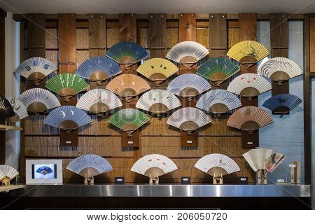 Kyoto, Japan -  May 17, 2017:  Shop window with traditional colorful hand fans