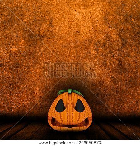 3D render of a Halloween jack o lantern in grunge interior
