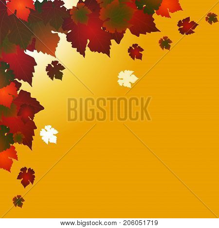 Autumn Corner with Red and Green Mixed Leafs Over Dark Yellow Background