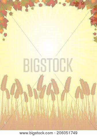 Shaded Yellow Sunset Background with Arvest and Autumn Red and Green Leafs