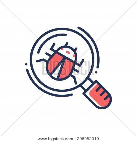 Bug in magnifying glass - modern vector single line design icon. An image of an insect, computer virus. Red color, white background.