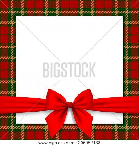 Xmas and New Year greeting card with red ribbon and tartan background