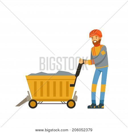 Male miner worker in uniform transporting ore in trolley, professional miner at work, coal mining industry vector Illustration isolated on a white background