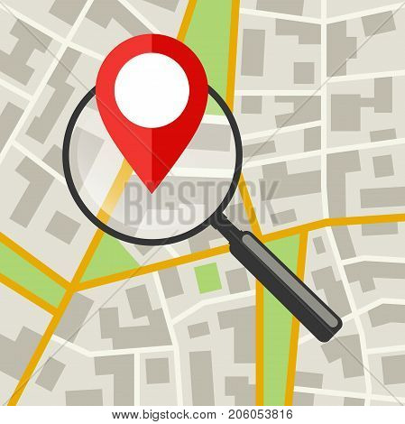 City Map with magnifier. Flat banner of the map search.