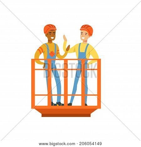 Talking and smiling male miners in uniform standing in mine lift, professional miners at work, coal mining industry vector Illustration isolated on a white background