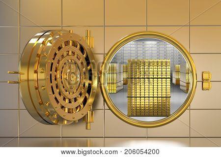 3d rendering golden bank vault opened with bullion inside