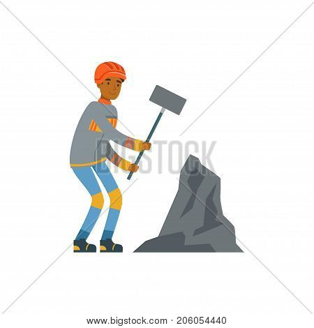 Male miner in uniform working with hammer, professional miner at work, coal mining industry vector Illustration isolated on a white background