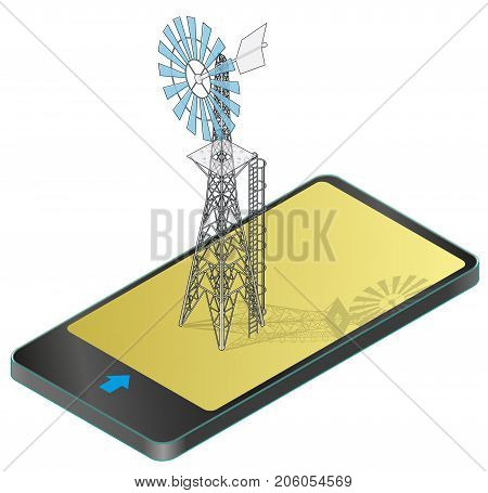 Outlined wind pump for pumping of water on farm in mobile phone. Home wind power plant for power generation in communication technology. Industrial agriculture building.Vector windmill illustration.