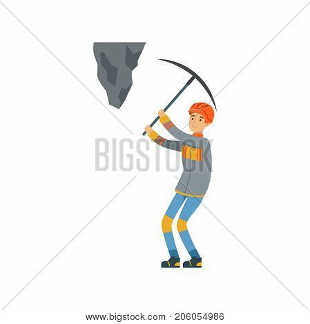 Male miner in uniform working at the coal mine with pickaxe, professional miner at work, coal mining industry vector Illustration isolated on a white background