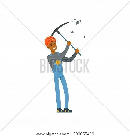 Miner in uniform working at the coal mine with pickaxe, professional miner at work, coal mining industry vector Illustration isolated on a white background