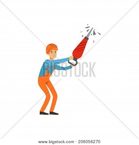 Male miner in uniform working with jackhammer, professional miner at work, coal mining industry vector Illustration isolated on a white background