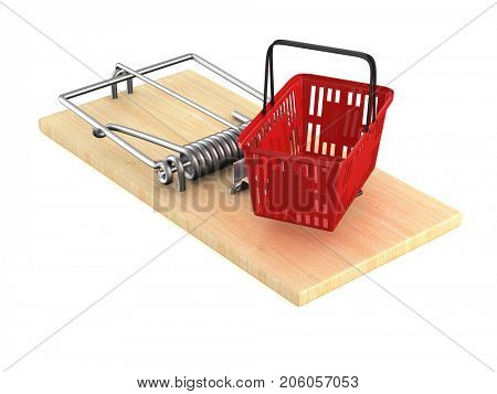 mousetrap with shopping basket on white background. Isolated 3D illustration