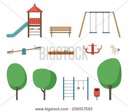 Playground outdoor equipment. Flat icons set of equipment children playground.