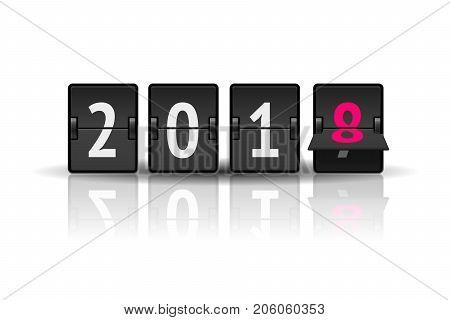 Analog scoreboard flip calendar for new year 2018 isolated on white background