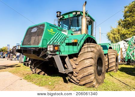Russia Samara - September 23 2017: Modern agricultural tractor K-704-4R