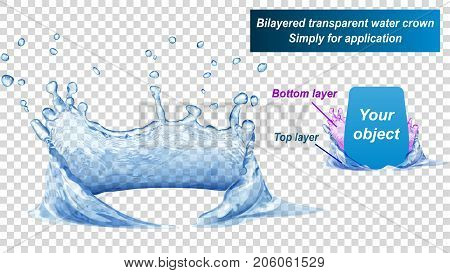 Transparent water crown consist of two layers: top and bottom. Splash of water in blue colors isolated on transparent background. Transparency only in vector file