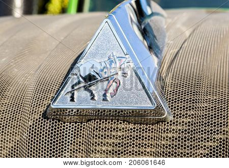 Russia Samara - September 23 2017: Emblem of agricultural tractor Fendt 933 Vario at the annual Volga agro-industrial exhibition