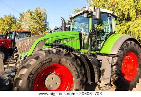 Russia Samara - September 23 2017: Modern agricultural tractor Fendt 933 Vario at the annual Volga agro-industrial exhibition